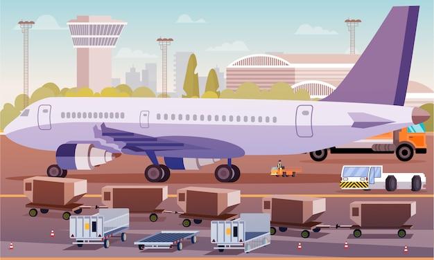 Transporte de carga por plano ilustración plana.