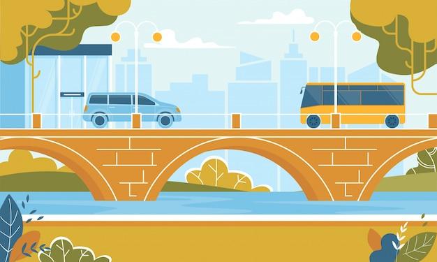 Transporte de la ciudad autobuses en movimiento en el puente sobre el río