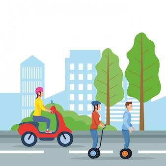 Transporte de la ciudad y dibujos animados de movilidad