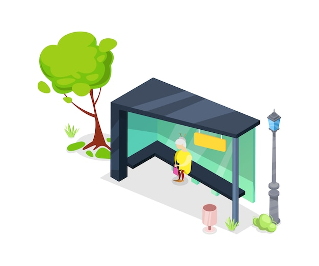 Transporte de la ciudad parada isométrica 3d