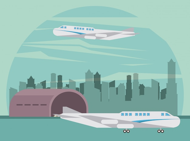 Transporte comercial pasajeros avión dibujos animados