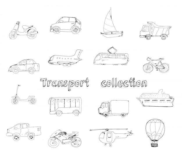 Transporte conjunto de iconos doodle