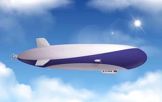 Transporte dirigible realista con cielo y nubes