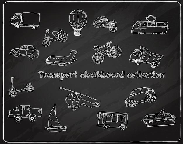 Transporte doodle conjunto pizarra