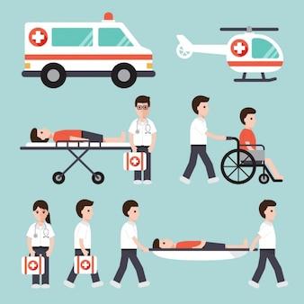 Transporte de enfermos en un hospital