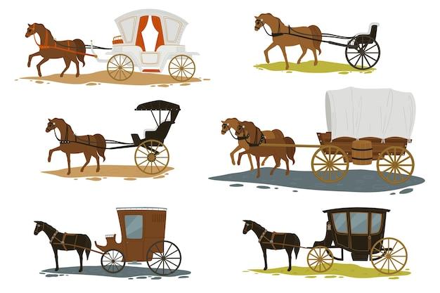 Transporte en épocas pasadas, caballos aislados tirando de carruajes con pasajeros. vacaciones románticas en la ciudad vieja. carros con apariencia vintage y retro. cuento de hadas o historia. vector en estilo plano