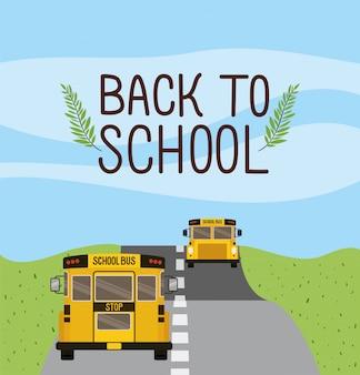 Transporte escolar en autobús por la carretera.