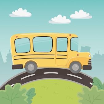 Transporte escolar en autobús en el paisaje.