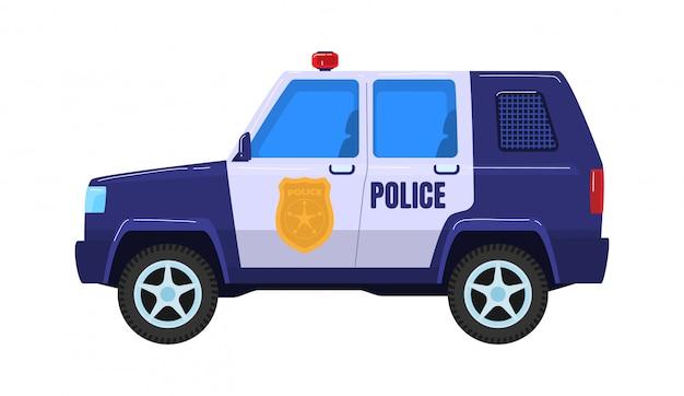 Transporte especial de automóviles de la policía, servicio de milicia de vehículos de camiones aislado en blanco, ilustración de dibujos animados. concepto icono policía fuerza vagón.
