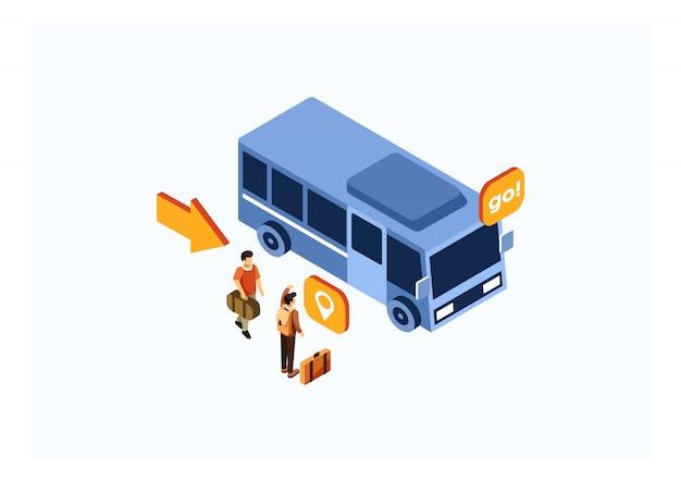 Transporte isométrico en autobús
