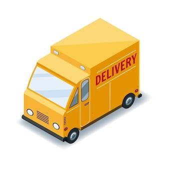 Transporte isométrico de camiones de carga rápida, entrega de concepto de mercancías, logística, entrega rápida