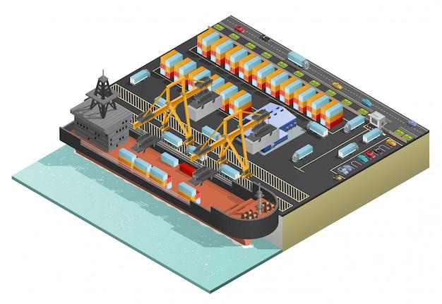 Transporte isométrico de carga marina