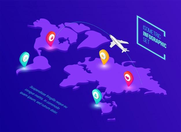 Transporte isométrico global, publicación y entrega infográfica. concepto de neón 3d con mapa del mundo, pin, avión sobre fondo oscuro. ilustración