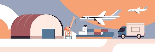 Transporte logístico cerca del concepto de servicio de entrega urgente de envío de mercancías de productos de almacén