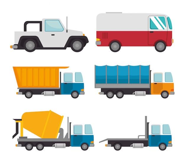 Transporte logístico set vehículos