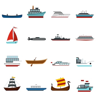 Transporte marítimo conjunto de iconos planos