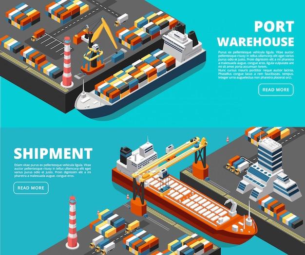 Transporte marítimo flete marítimo horizontal y pancartas de envío con puerto isométrico, barcos, contenedores y grúas