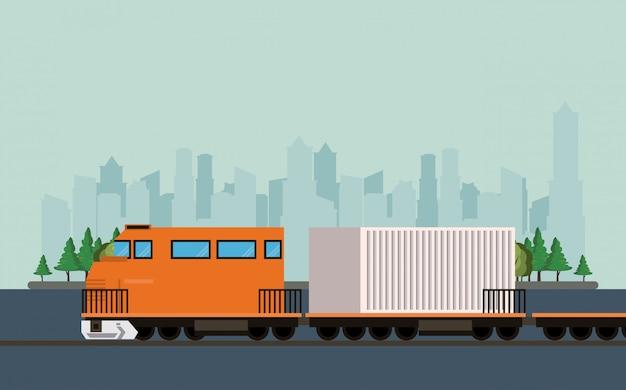 Transporte mercadería logística carga tren dibujos animados