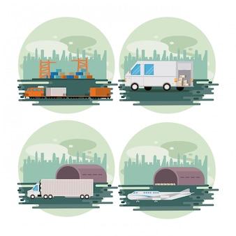 Transporte mercancía carga logística caricatura