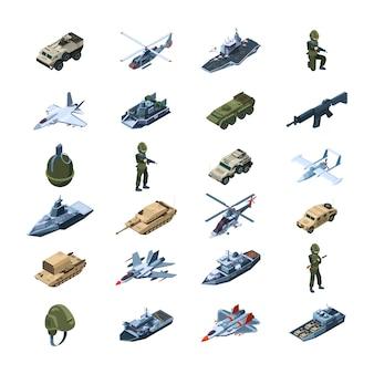 Transporte militar armadura del artilugio del ejército armas uniformes pistolas tanques granadas herramientas de seguridad isométrica