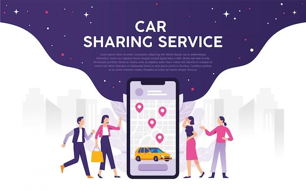 Transporte móvil de la ciudad moderna, concepto de transporte de servicio de coche compartido