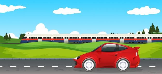 Transporte en paisaje rural.
