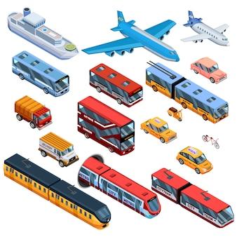 Transporte de pasajeros elementos isométricos