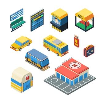 Transporte de pasajeros iconos isométricos