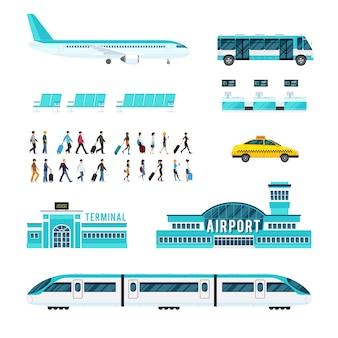 Transporte de personas y conjunto de iconos de aeropuerto