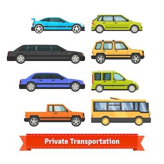 Transporte privado. varios coches y vehículos