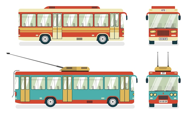 Transporte público autobús trolebús 4 iconos
