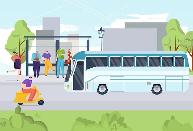 Transporte público de personas en autobús, viaje desde la parada de autobús, calle, camino, ilustración