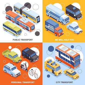 Transporte público transportistas de la ciudad vehículos personales camiones para entrega de carga ilustración de concepto de diseño isométrico