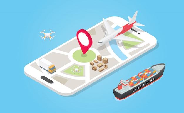 Transporte de sistema de entrega inteligente con varios modelos, como aire terrestre y marítimo, con seguimiento de aplicación de teléfono con estilo plano moderno - vector