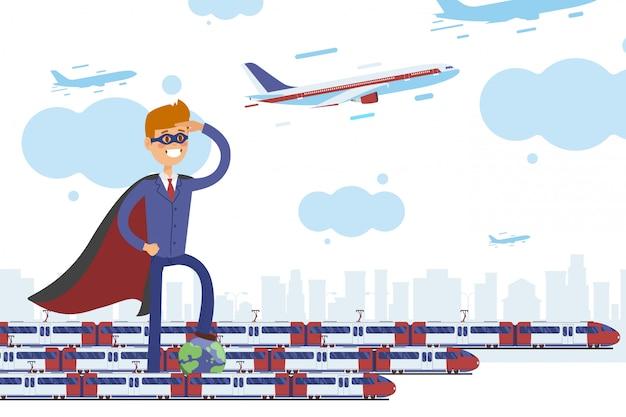 Transporte de superhéroes, ilustración de negocio de cuidado de planeta. carácter en traje de negocios de pie cerca de los trenes modernos.