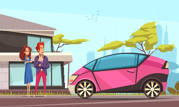 Transporte terrestre moderno joven pareja cerca de casa y coche rosa estacionado en la calle de dibujos animados