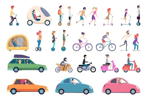 Transporte urbano. personas que conducen coches scooter bicicleta hoverboard segway actividad urbana personas estilo de vida conjunto.