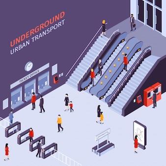Transporte urbano subterráneo con escaleras mecánicas torniquetes puertas pasajeros ilustración