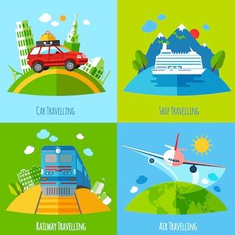 Transporte de viaje 4 iconos planos cuadrados