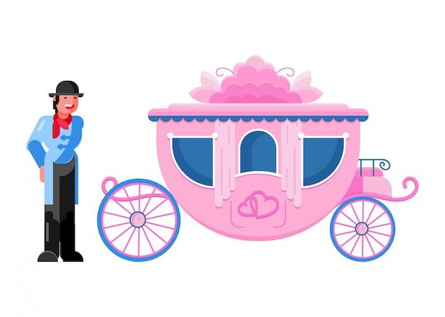 Transporte vintage de carruaje entrenador con ruedas viejas y conjunto de transporte antiguo de coachman personaje real para caballo y carro