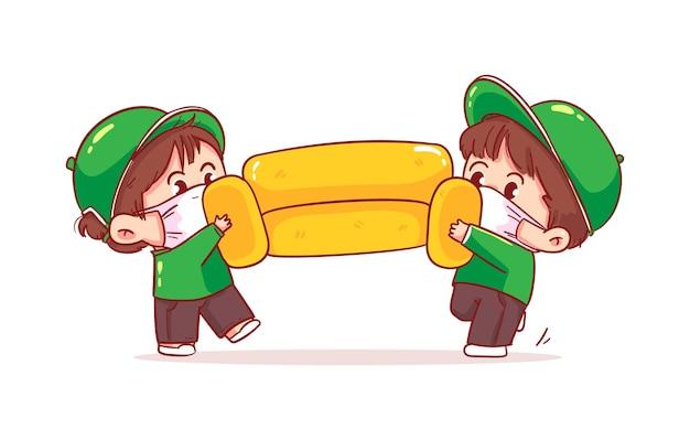 Los transportistas de hombre de carácter de entrega llevan un sofá, ilustración de arte de dibujos animados de servicio de mudanza