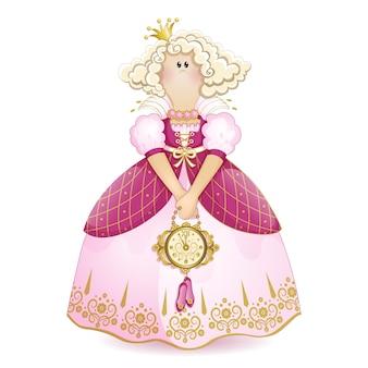 Trapo de princesa en un vestido de gala con un bolso con forma de reloj