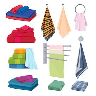 Trapos de cocina. tejidos de algodón textil color manta toallas elementos de higiene colección de dibujos animados de vector. suave y toalla, ilustración de textil de algodón doblada.