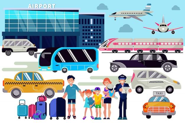 Traslado al aeropuerto personas que viajan personajes familia con equipaje en aeropuertos terminal de salida del avión transporte en taxi coche ilustración conjunto de pasajeros transporte autobús en el fondo