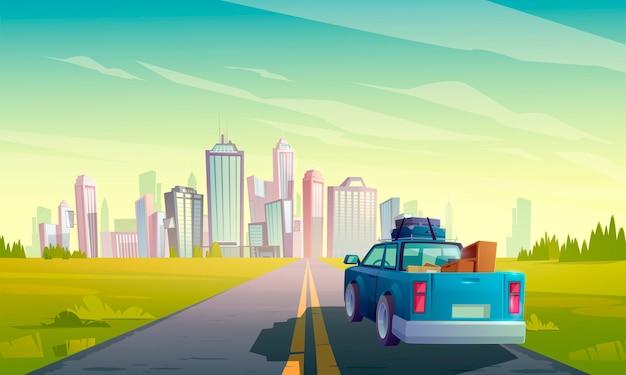 Traslado a otra ciudad, camión con carga