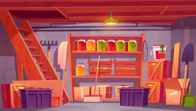 Trastero en el sótano de la casa con conservas de alimentos en estantes, herramientas de jardín y cajas, interior de dibujos animados del almacén en el sótano de la casa con escaleras de madera y cajones con ilustración de verduras