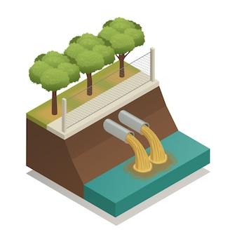 Tratamiento de aguas residuales composición isométrica ecológica