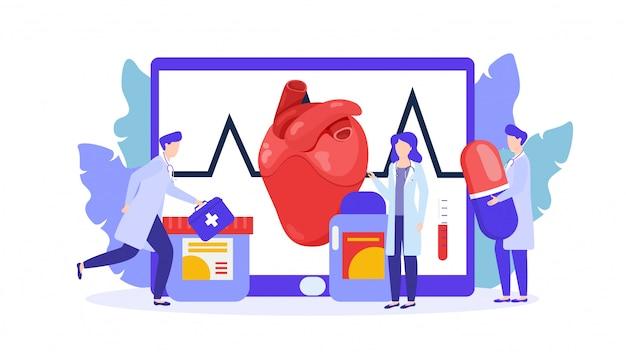 Tratamiento del corazón por el equipo de médicos, ilustración de la terapia de drogas aislada.