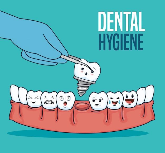 Tratamiento dental con prótesis dental y extractor.