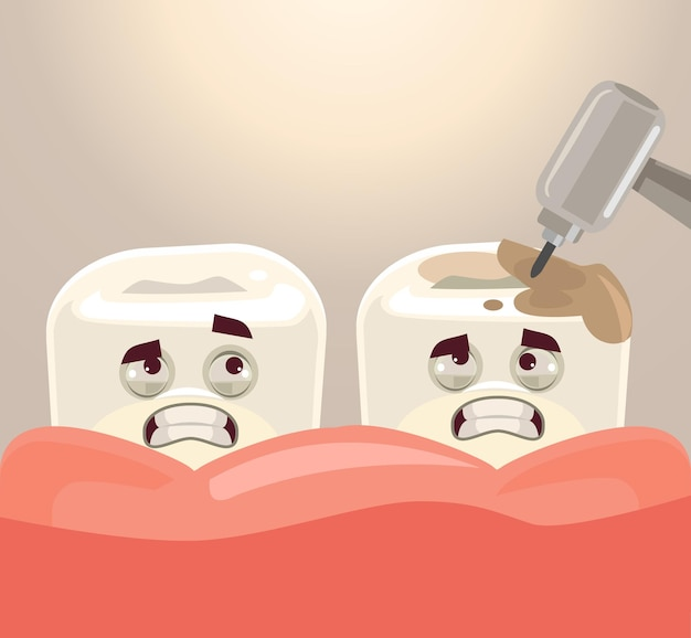 Tratamiento de dientes con ilustración de dibujos animados plana de taladro dental